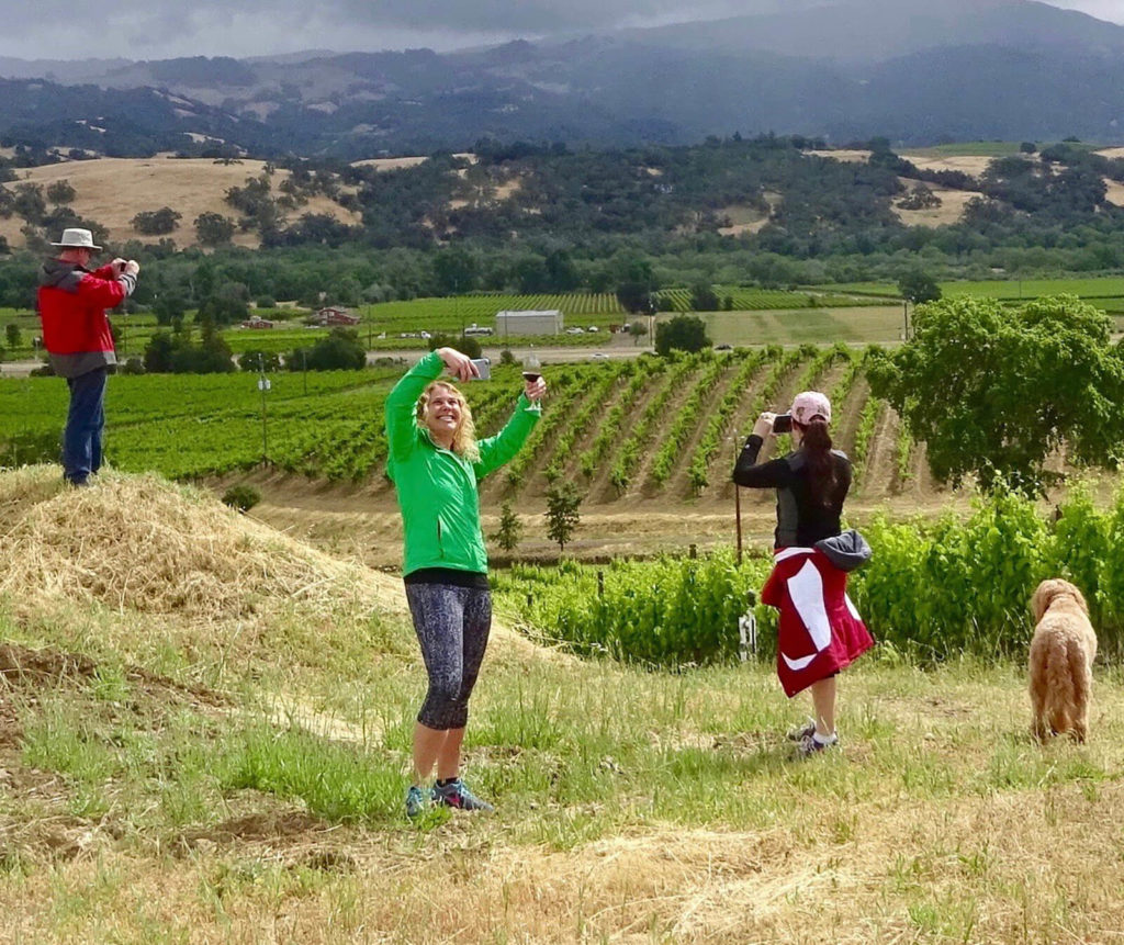 Hillside selfie during vineyard walk at Seghesio's Home Ranch.