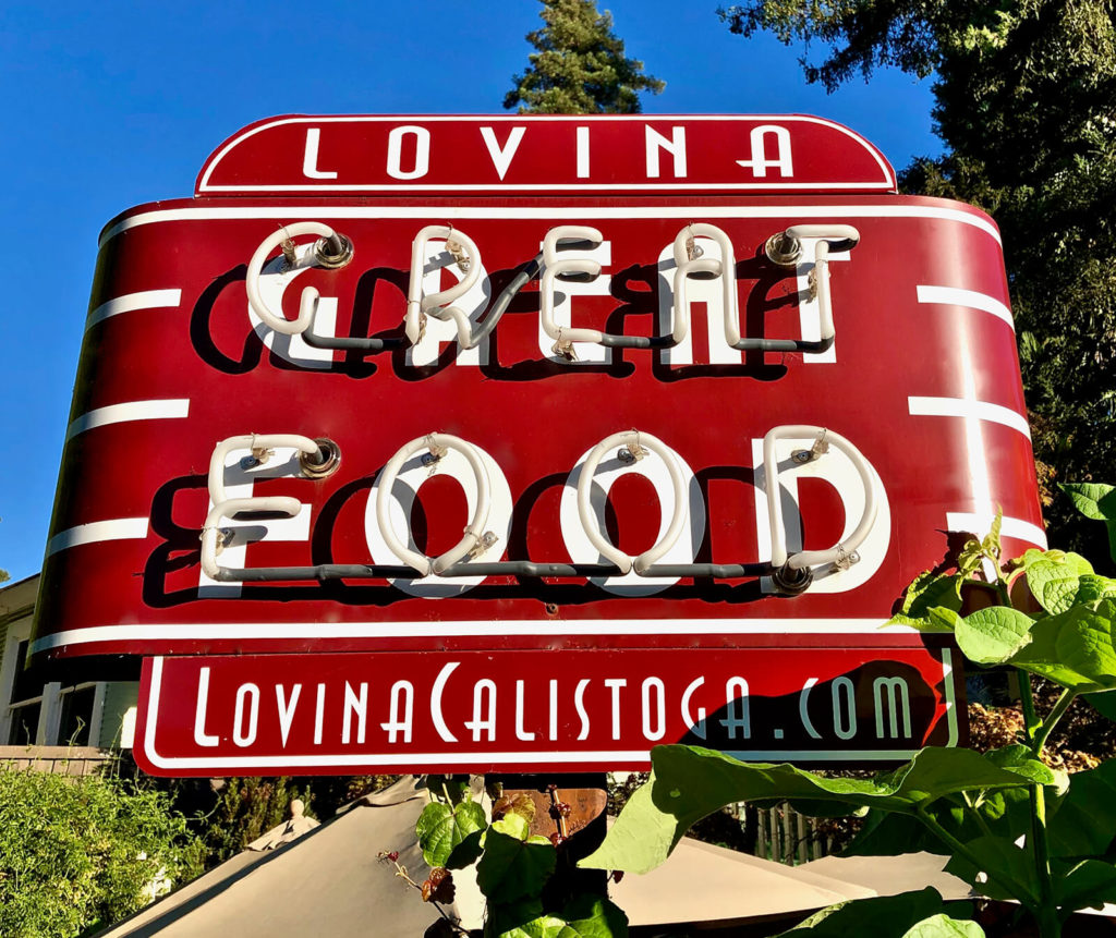 "The food at Lovina lives up to its sign, ""Calistoga Restaurants Cheat Sheet."""