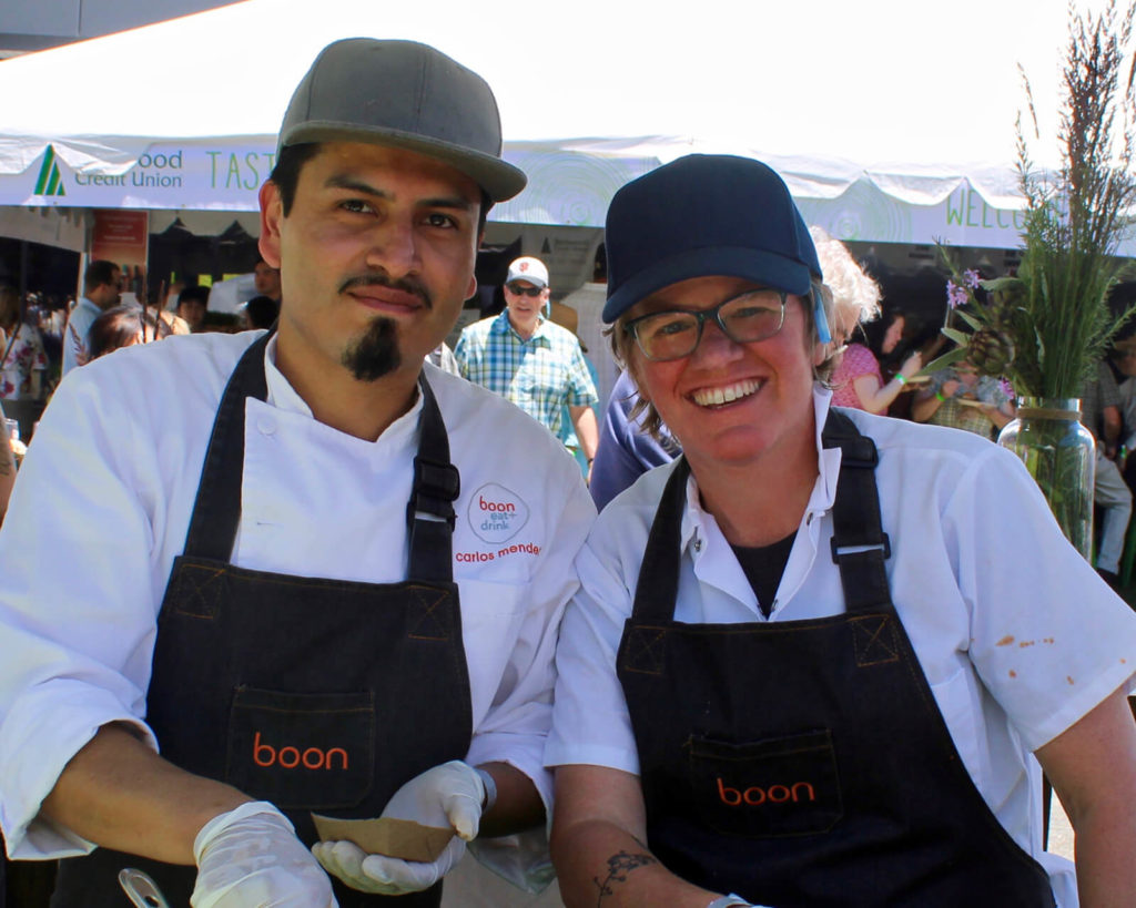 "Carlos Mendez and Crista Luedtke of boon eat + drink, ""Meet the Principals at Wine and Food Fest."""