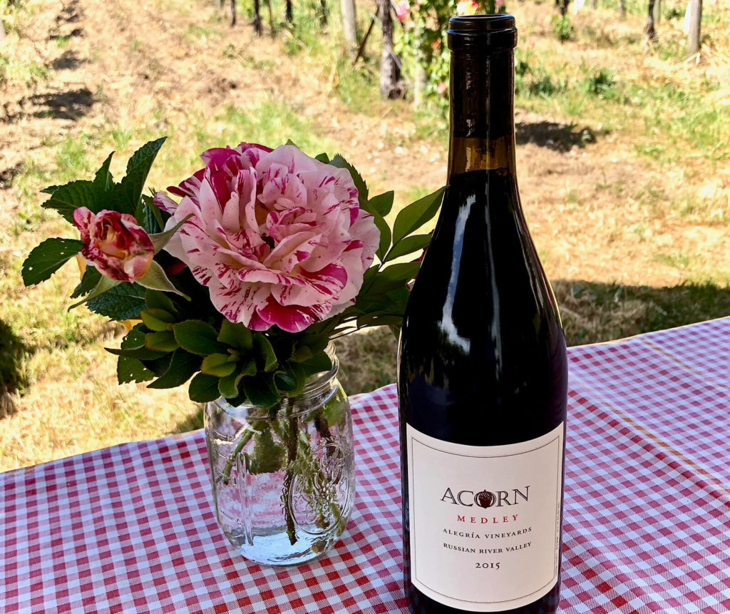 "More than five-dozen grape types go into ACORN Winery's Medley red blend, ""Sonoma County Basics."""