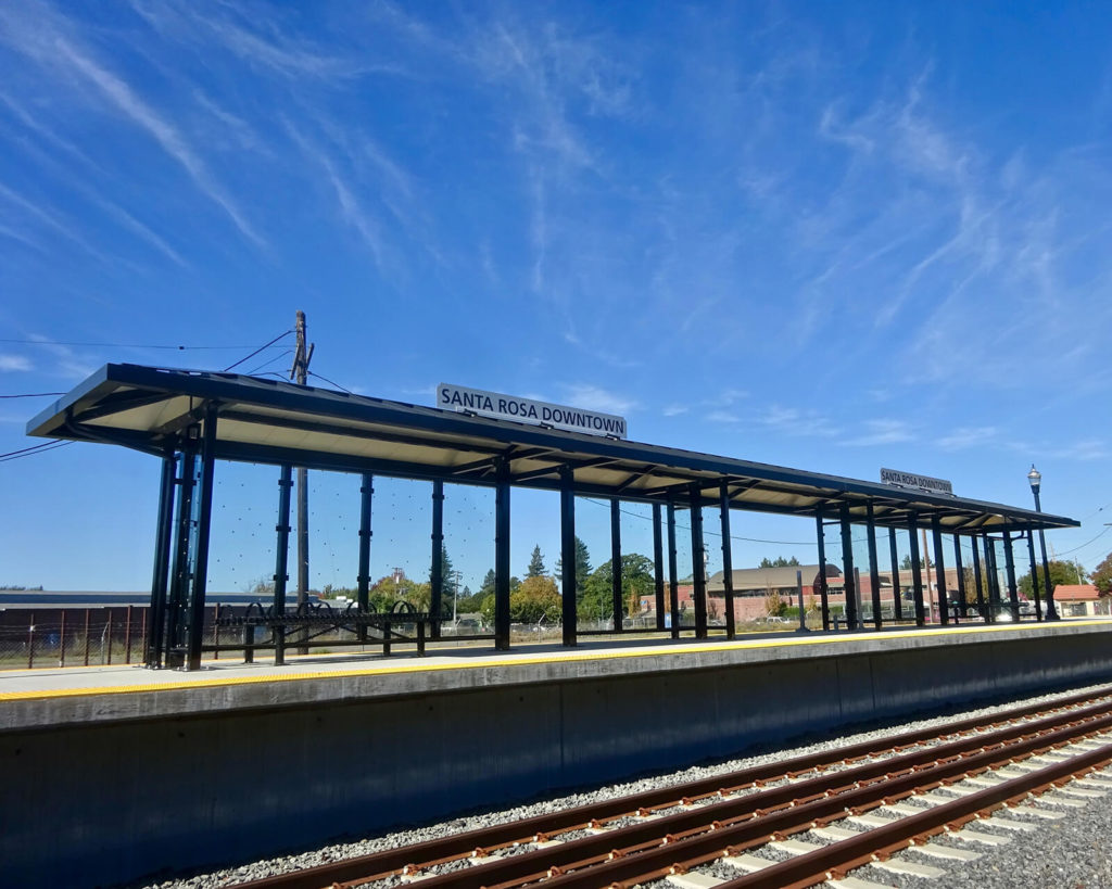 "Commuter trains serve Petaluma, Santa Rosa, and a few other cities, ""Sonoma County Basics."""
