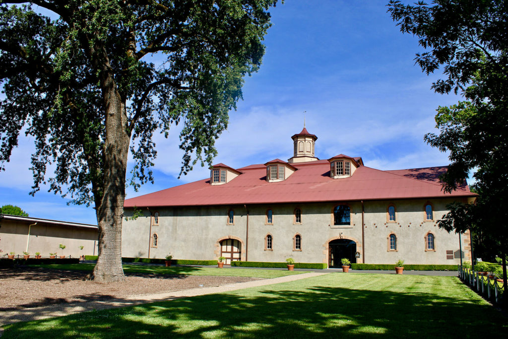 Charles Krug Winery's hospitality center occupies the 1874 Redwood Cellar.
