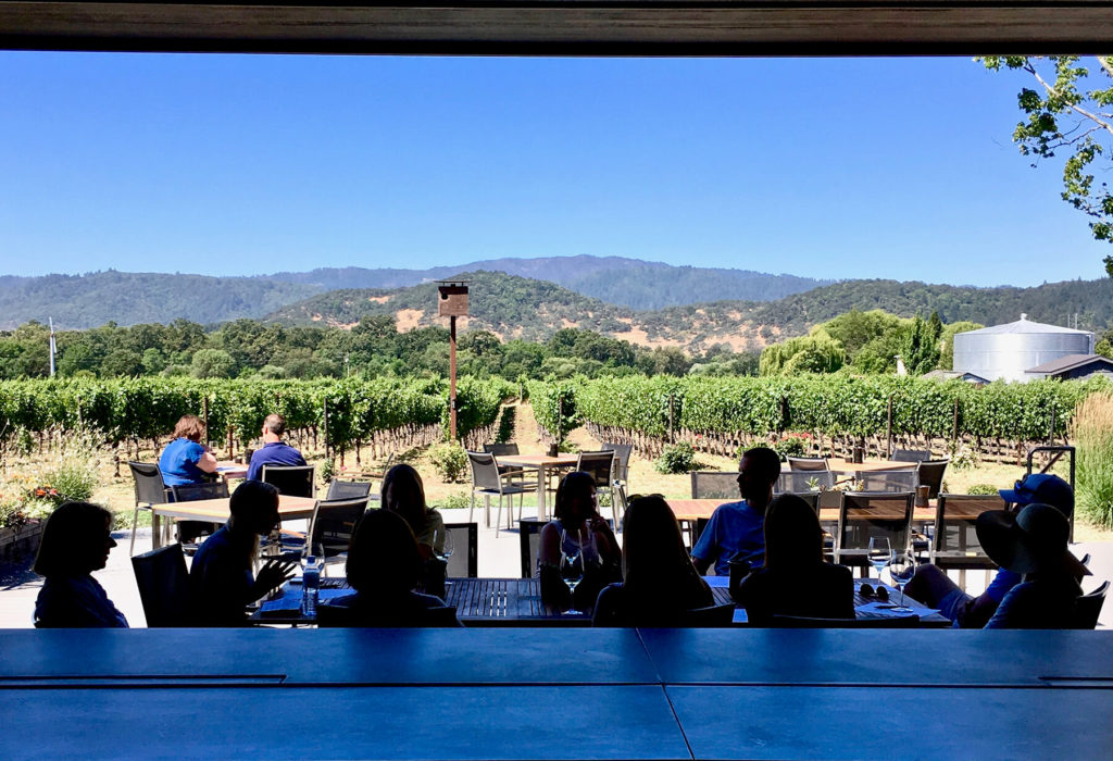 Tasting room patio and view at Goosecross Cellars.